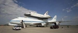 Shuttle Enterprise takes off for New York