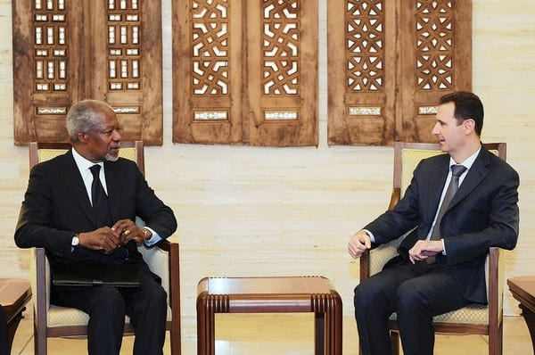 Kofi Annan and Syrian President Bashar Assad meet in Damascus