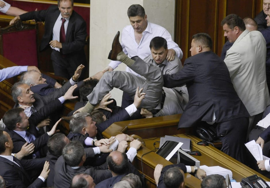 War Of Words In Ukrainian Parliament Descends Into Violence