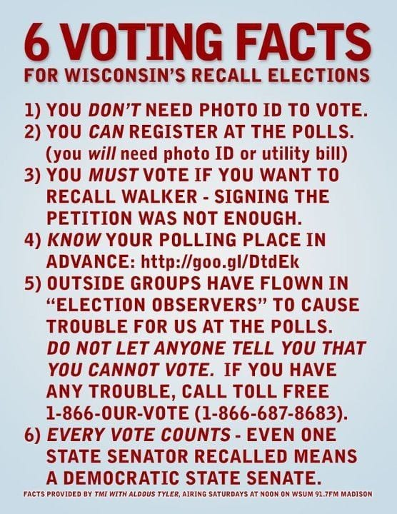 6 Voting Facts For Wisconsin's Recall Elections