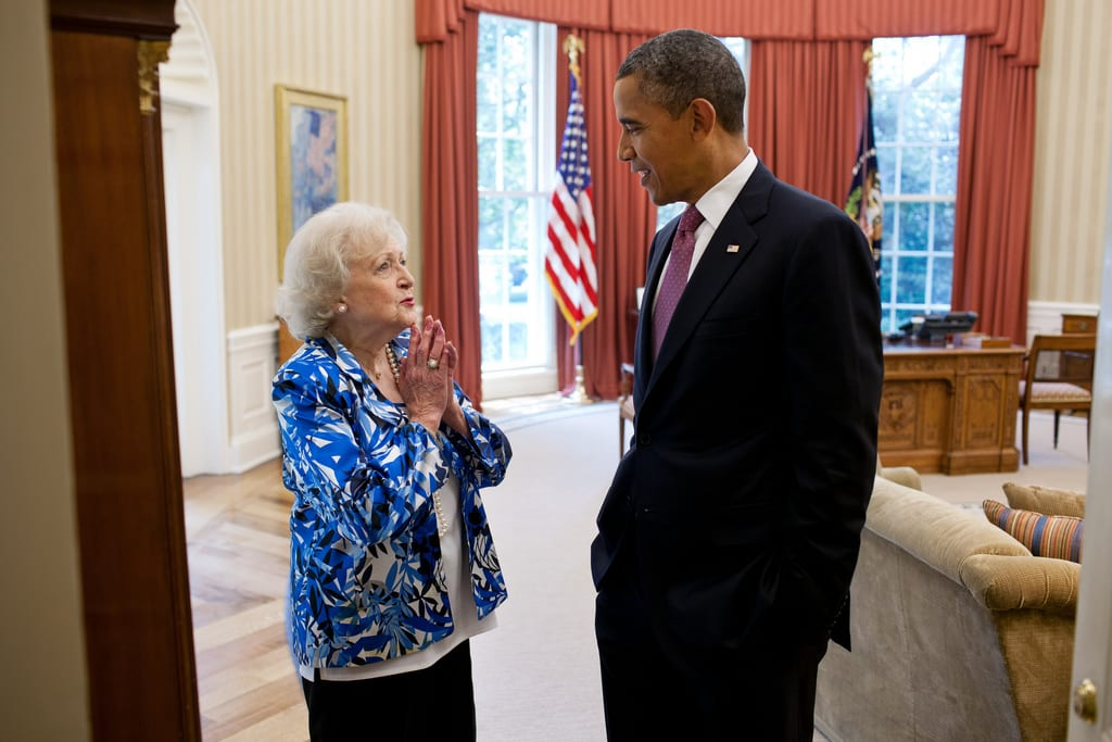 President Obama Meets Betty White In The White House Oval Office
