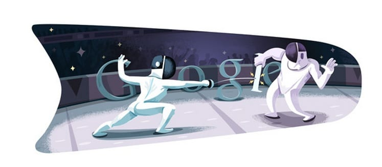 London 2012 Fencing The fourth Google doodle for Olympics 2012