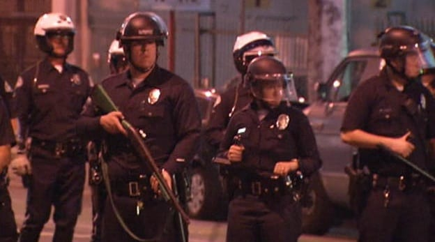 Occupy LA Returns To Downtown Is Met With Police In Riot Gear And A Citywide Tactical Alert