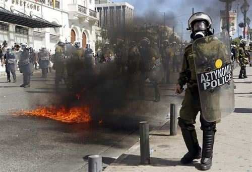 Clashes Erupt At Greece Anti Austerity Protest