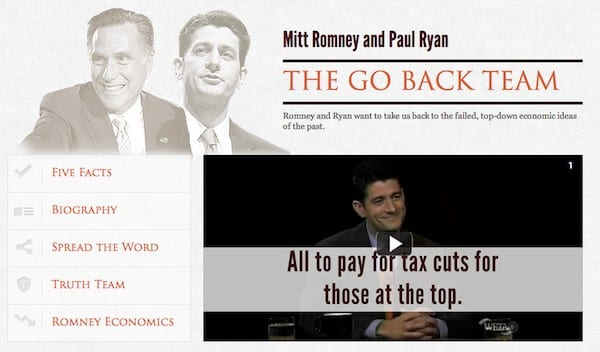 The Obama Campaign Launches Website GOBACKTEAM.com – The Facts About Ryan's Regressive Budget