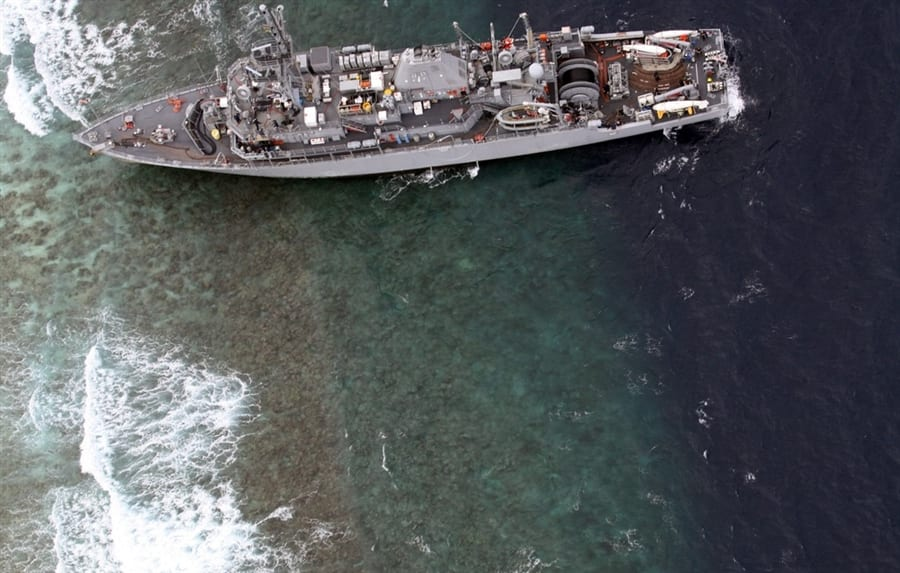 US Navy Ship Evacuated After Striking Reef In Philippines
