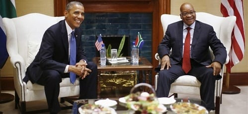 Obama meets with South African Pres. Zuma Mandela's family1