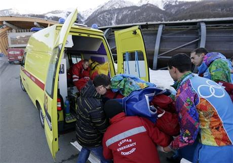 Sochi Olympics Games Bobsled Track End Up Broken Worker Legs