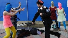 Video shows Pussy Riot members beaten by Cossacks