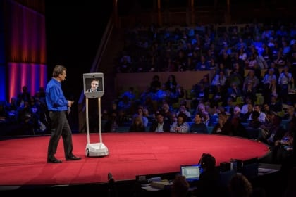 Edward Snowden speaks to TED conference through a robot