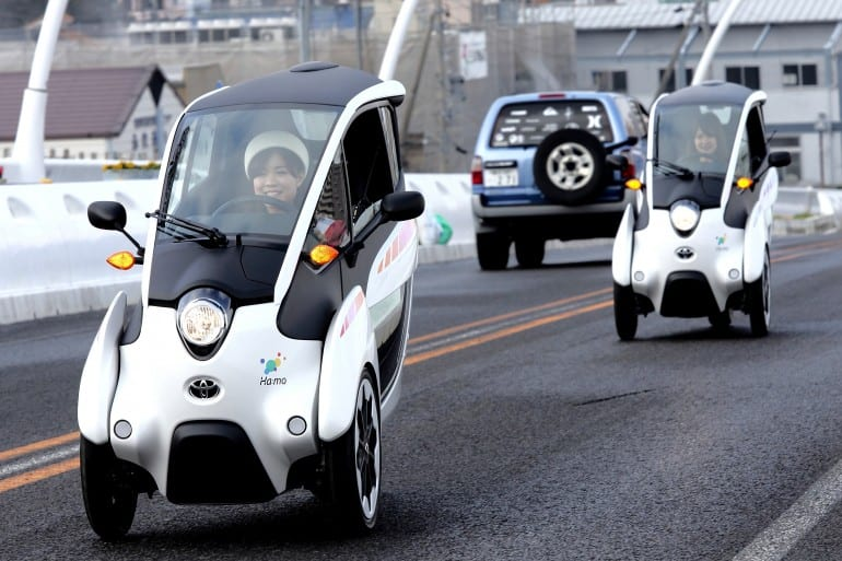 Toyota i Road EVs trialled for last mile car sharing
