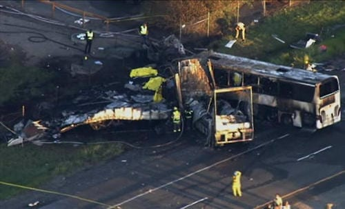 9 dead after tour bus truck collide in Northern California