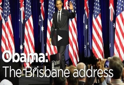 US president Barack Obama speaks at the University of Queensland during the G20 summit stretch