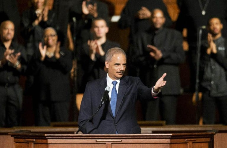 Eric Holder heckled by black protesters at church in Atlanta