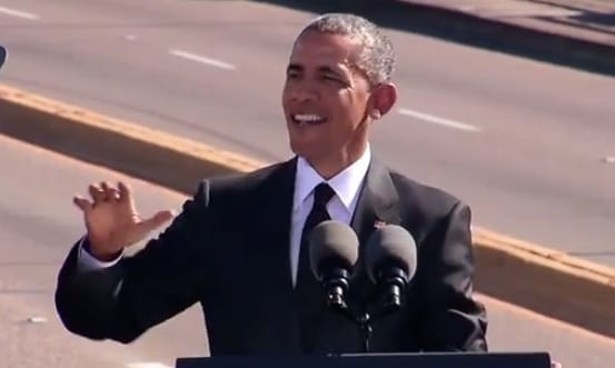 President Obama delivers remarks from the Edmund Pettus Bridge in Selma