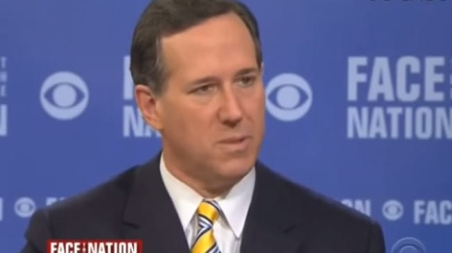 Rick Santorum quotes God Hates Fags slogan while discussing Indiana law