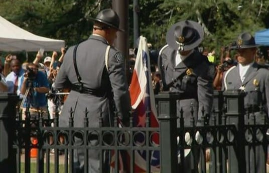 Confederate flag removed from grounds of South Carolina Statehouse in honor guard ceremony