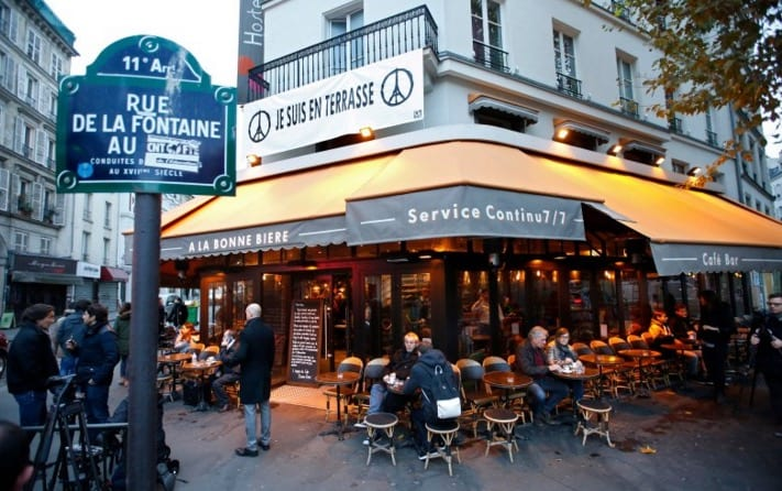 Cafe Attacked in Paris Re opens