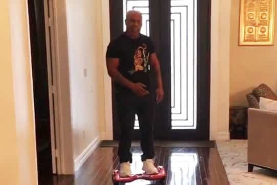 Mike Tyson Falls Off His Hoverboard VIDEO