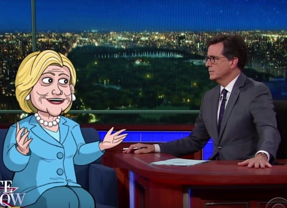 Watch Cartoon Hillary Clinton On The Late Show With Stephen Colbert