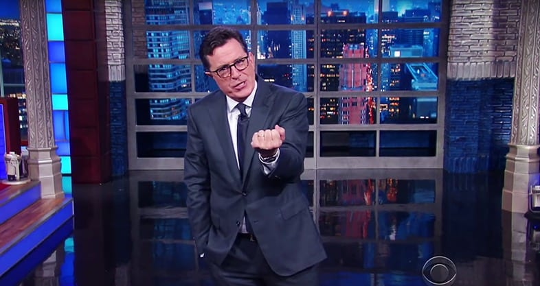 Colbert 'Dammit Anthony just keep it in your pants until after the election'