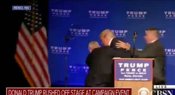 Security Rushes Donald Trump Off Stage
