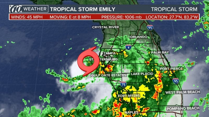 Tropical Storm Emily Forms In The Gulf Of Mexico Off Coast Of Florida