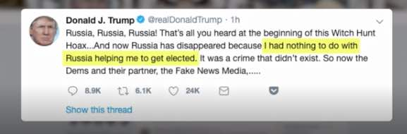 Asshat Cheeto Tweeted Then Retracts Statement That Russia Helped Him Get Elected.